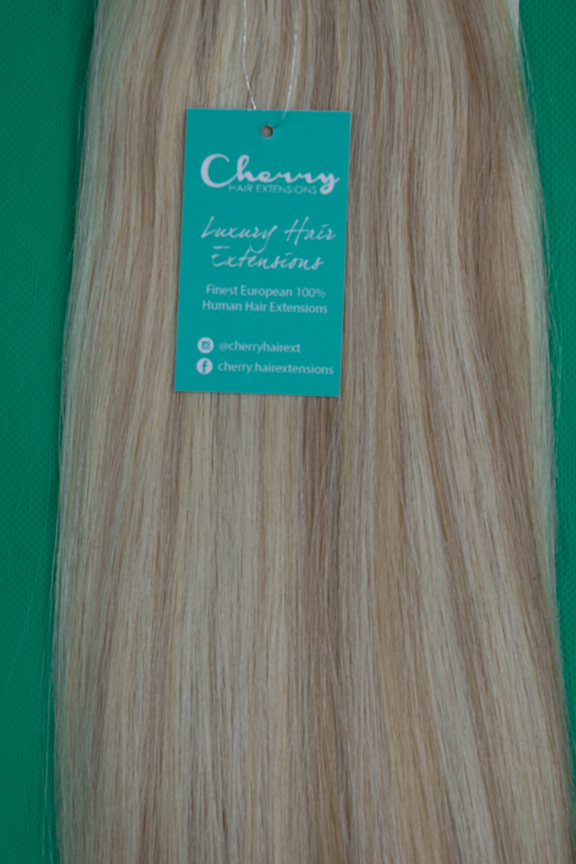 Shade 1424 Caramel Blonde European Hair Extensions Cherry